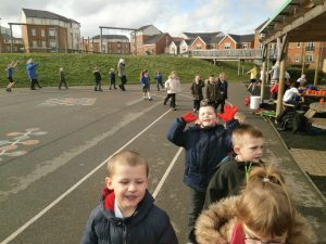 Year 5/6 and Year 2 taking part in their walk