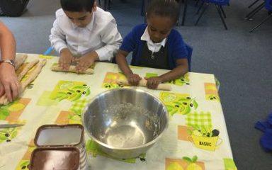 Beech class making Shabbat bread